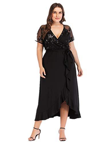 YISIBIA Women's Plus Size Short Sleeve Wrap V Neck Lace Belted Empire Waist Irregular Ruffle Casual Long Maxi Dress Black