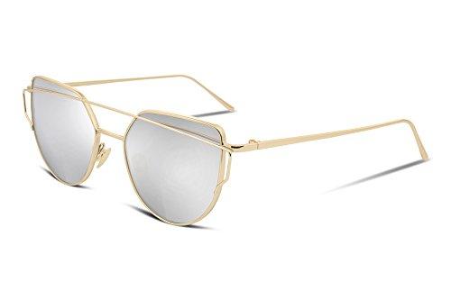 FEISEDY Cat Eye Fashion Metal Frame Mirrored Flat Lenses Women Sunglasses ()
