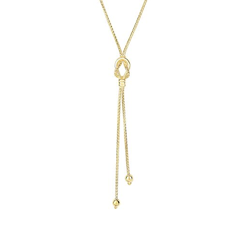 7.5-1.3mm Shiny+Diamond Cut 2 Bead+Knot On 1.3mm Popcorn Link Fancy Lariat Type Necklace with Lobster Clasp (Link Necklace Gold Fancy Bead)