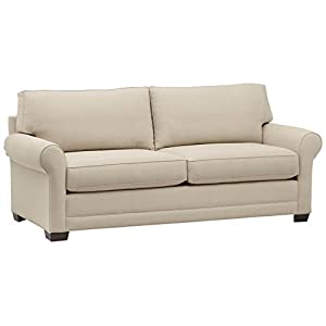 Amazon Brand – Stone & Beam Kristin Chair-and-a-Half Upholstered Sleeper Sofa, 55.5″ W, Sand & Stone & Beam Dalton Performance Fabric Ottoman, 33″ W, Sand