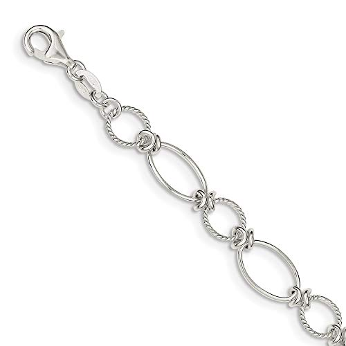 (Sterling Silver Polished & Textured Fancy Circle & Oval Link Bracelet)