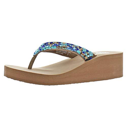 (Yellow Box Women's Tinelli Rhinestone EVA Wedge Thong Sandals Blue Size 10)
