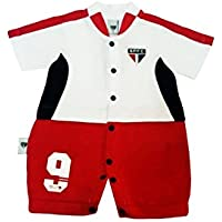 Rêve D'or Sport - Macacão Curto Artilheiro São Paulo, G, Branco/Vermelho/Preto