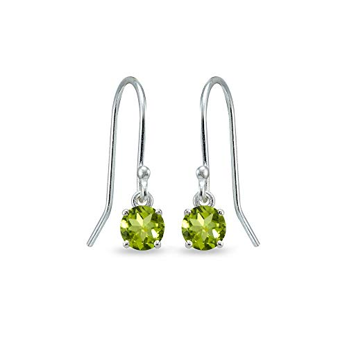 (Sterling Silver Peridot 5mm Round Small Solitaire Dangle Earrings for Women, Teen Girls)