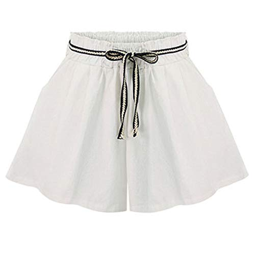 FABEILAI Women's Modest Loose Elastic-Waisted Casual Wide Leg Shorts #2006 WH 16/18 White