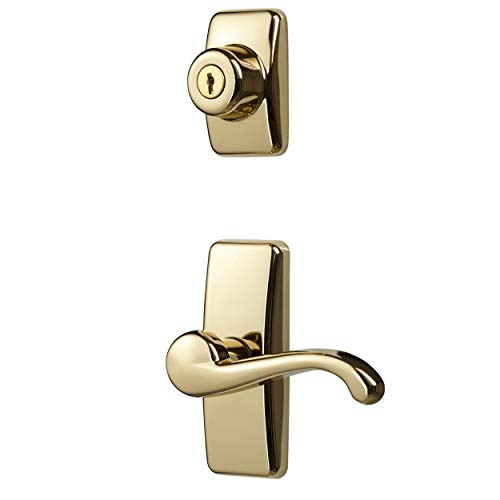 Ideal Security Inc. HK01-I-022 GL Lever Set for Storm and Screen Doors With Keyed Deadbolt Brass Finish