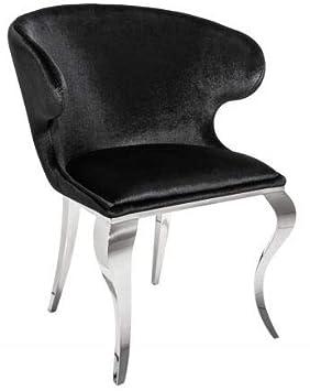 Casa-Padrino Silla de Comedor de diseño Plateada/Negra 61 x 60 x H ...
