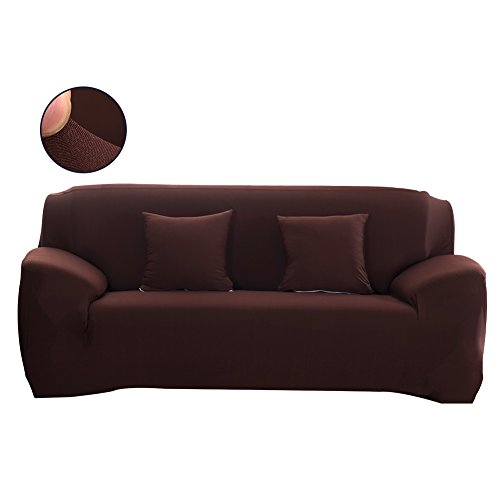 Forcheer Couch Covers Universal Sofa Cover Polyester Elastic Sofa Slipcovers for Living Room (Sofa, Coffee) (Sofa Round 2 Back Seat)
