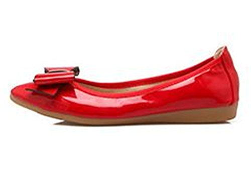 Shoes PRETTYHOMEL On Ballet Slip Women's Toe Classic Flats PU Patent Leather Red Pointy Dress xwH46Hpq