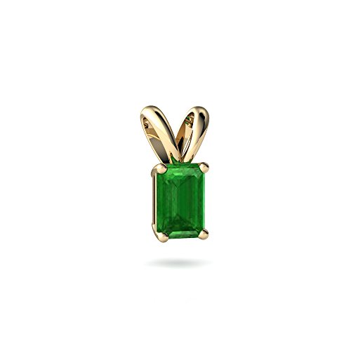 14kt Yellow Gold Emerald 6x4mm Emerald_Cut Solitaire Pendant