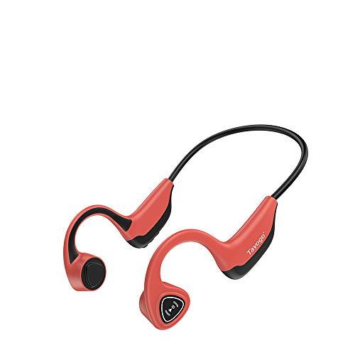 Bone Conduction Headphones, Open-Ear Wireless Bone Conduction Bluetooth Headphones for Sport Fitness-Red
