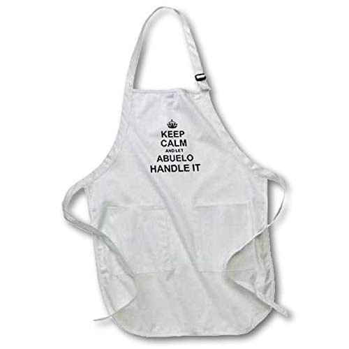 3D Rose Keep Calm and Let Abuelo Handle It Fun Funny Grandpa Grandfather Gift Full Length Apron-with Pockets, 22 x 30, White