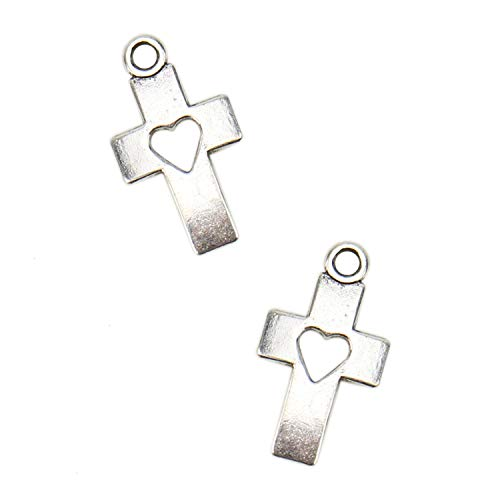 JETEHO 40 Pcs Cross Love Heart Charms for Jewelry Making Crafting Necklace Bracelet Earrings 18X11mm