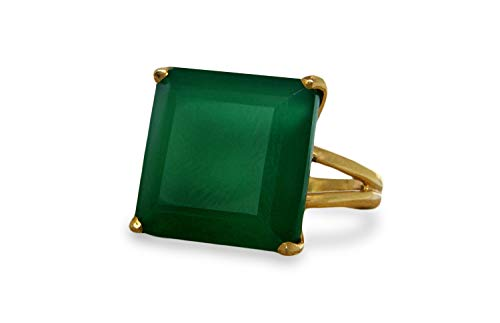 16Mm Green Onyx Ring By Anemone Jewelry - Faceted Square Gemstone 14K Gold Filled Ring For Cocktails, Birthdays, Other Parties [Handmade]