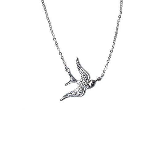 Freena Design Swallow Bird Necklace, Silver or Golden, 18