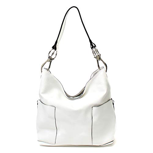 Americana Bucket Style Hobo Shoulder Bag with Big Snap Hook Hardware and Side Zipper Pocket