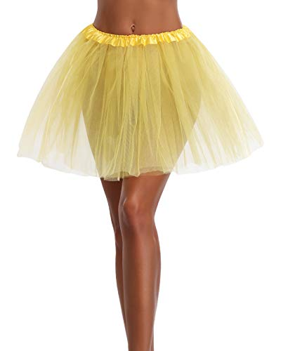 Women's, Teen, Adult Classic Elastic 3, 4, 5 Layered Tulle Tutu Skirt (One Size, Yellow 3Layer) -