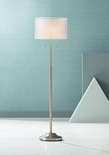 Roxie Modern Floor Lamp Brushed Steel Sheer and Linen Double Drum Shade for Living Room Reading Bedroom Office - Possini Euro Design