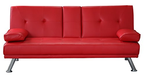 Clic Clac Sofa Bed 3 Seater Faux Leather Sofa Drink