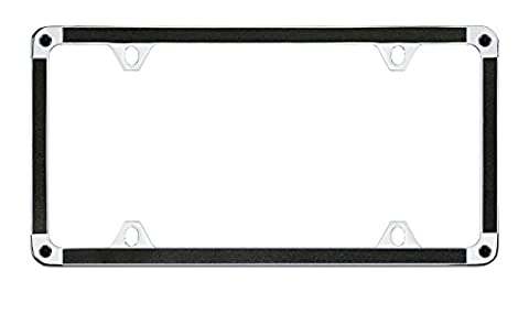 Black Glitter Vinyl Insert Wrap Thin Rim Acceptable In All States License Plate Frame with Black Swaroski Crystals