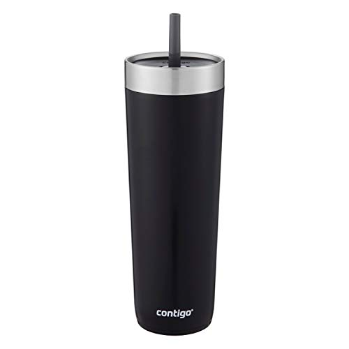 Contigo Luxe Stainless Steel Tumbler with Spill-Proof Lid and Straw | Insulated Travel Tumbler with No-Spill Straw, 24 oz, Licorice,2063130