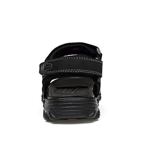 Sandali Eu Oudan Nero Comfort magica dimensioni Skid da uomo regolabile Proof Colorato Nero di Banda in Outdoor 2018 tinta 43 traspirante di Shoe mucca puntale Comfort grandi in Water pelle rfF50qrxw