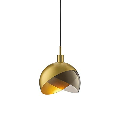 (BAG LED Modern Simple Ceiling Light Iron+Glass Shade, E27 Screw Single Head Chandelier Gold Pedant Light Cage Fixture for Hallway Kitchen Study(Diameter25/35cm)-D35CMH37CM)