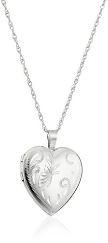 Sterling Silver Heart with Hand Engraved Butterfly Locket Necklace, (Hand Engraved Heart Locket)