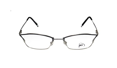Jazz 181 MensWomens Rx Ready Unique Design Designer Full-rim Spring Hinges EyeglassesEyeglass Frame (49-19-140 Black  Silver)