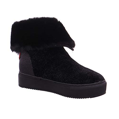 Mujer Nero Caf Negro Eco Botas Zapatos Piel Zip Solapa Fb924 Noir Brillo fggqxAHF