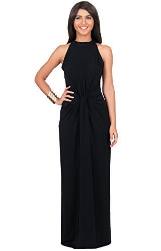 KOH KOH Womens Long Sleeveless Sexy Summer Vintage Tube Cocktail Gown Slimming Party Evening Pleated Summer Prom Bridesmaid Beach Maxi Dress, Color Black, Size Large L 12-14 (2)