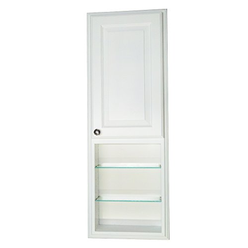 Wood Cabinets Direct Recessed in The Wall White Enamel Finished Stockton Medicine Storage Cabinet with 24'' Open Shelf, 42'' Height x 3.5'' Deep by Wood Cabinets Direct