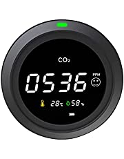 3-in-1 Air Quality Monitor for CO2, USB Rechargeable CO2 Monitor with Ambient Temperature and Humidity, Carbon Dioxide Detector, CO2 Meter, Air Gas Detector for Bedroom Home Office Car Gym