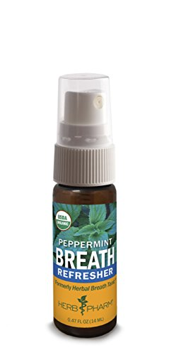 Herb Pharm Breath Refresher Certified Organic Herbal Fresh Breath Spray, (Herbal Breath Freshener)