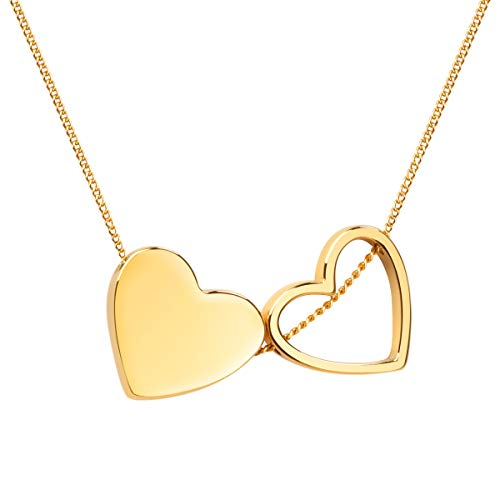 - Girafe Gold Love Double Floating Heart Necklace - 14K Real Gold Plated Simple Minimalist Handmade Solid Heart and Open Heart Delicate Pendant Necklace for Women- Gift Packing