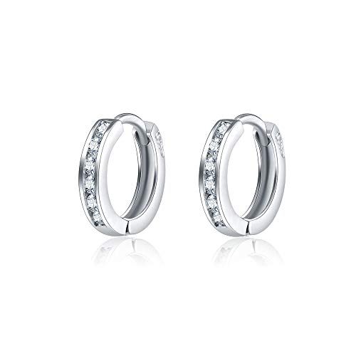 AOBOCO S925 Sterling Silver Cubic Zirconia Small Hoop Earrings Cuff Tiny Hoop Cartilage Earring for Women Girls 14k White Gold Plated Diameter 0.5 inch (Child Hoop Earrings)