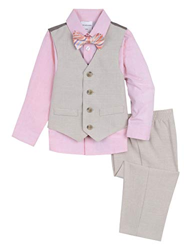 Van Heusen Baby Boys 4-Piece Patterned Dresswear Vest Set, Khaki Look, 6-9 Months