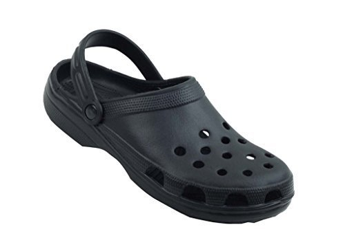 Sunville Men's Perforated Garden Clog Shoes (8 D(M) US, Black)