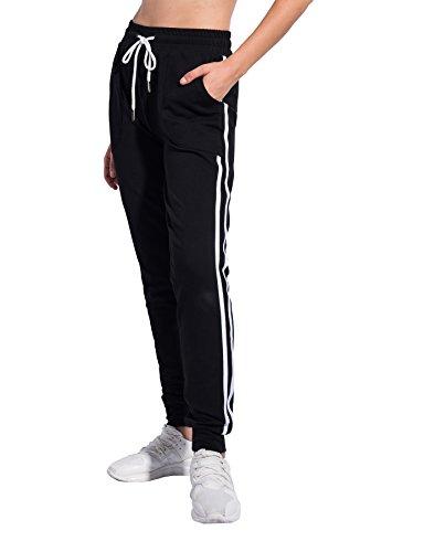 (PULI Women Drawstring Cuff Sports Workout Leggings Jogger Sweatpants with)