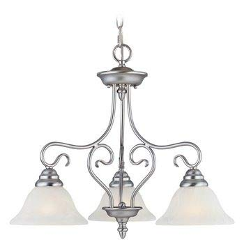 Livex Lighting 6133-91 Coronado - Three Light Chandelier, Brushed Nickel Finish with White Alabaster Glass