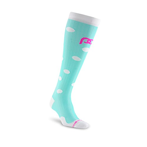 PRO Compression The Official Brand - Made in The USA - Men and Women - Nurses to Runners Designs! (Graduated Compression Technology) (Small/Medium, Mint Dots)