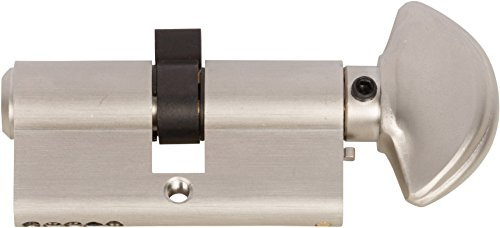 Rockwell 90 Degree Solid Brass Euro Profile Cylinder Lock in Brushed Nickel finish Durable - hardware door locks, Door hardware ()