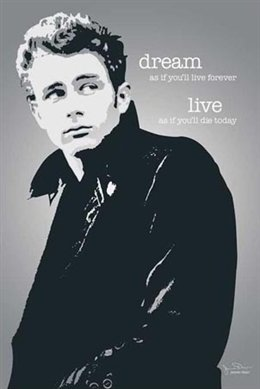 James Dean Live Forever Pop Art Quote Poster 24 X 36 Inches