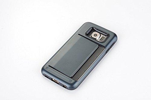 Funda Galaxy S6 Edge Plus, Sshuhu Ultra Slim Cubierta de Doble Capa de Protección Híbrida con Ranura de Tarjeta de Crédito y Kickstand Teléfono Caso para Samsung Galaxy G928F G928A 5.7 Rosa Azul marino