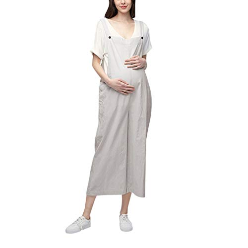 RIUDA Maternity Rompers Womens Jumpsuit Pregnancy Casual Loose Wide Leg Pants Pregnant Playsuits Bib Pants Beige