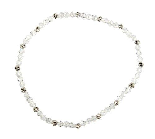 """Clear Crystal & Silver Tone Beaded Stretch 9"""" Anklet for sale  Delivered anywhere in USA"""