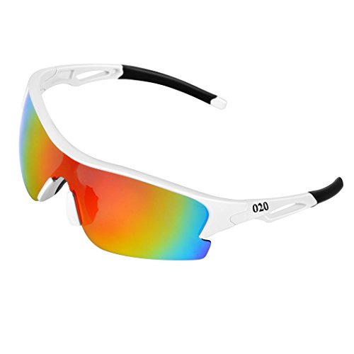 O2O Polarized Sports Sunglasses for Women Men Teens Youth Biking Running Golf Unbreakable Frame (White) ()