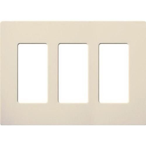 Lutron Claro Light Almond 3 Gang Wallplate, Gloss/Stainless - Claro Steel Stainless