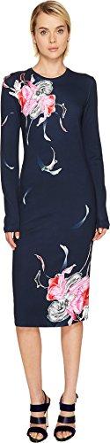 Prabal Gurung Women's Printed Long Sleeve Viscose Knit Dress Navy Multi - Prabal Shop Gurung