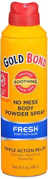 Gold Bond No Mess Body Powder Spray Fresh Scent with Aloe - 7 oz, Pack of 6